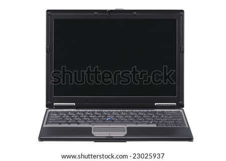 Laptop with path for laptop and a separate path for the screen. Isolated on a black background. - stock photo