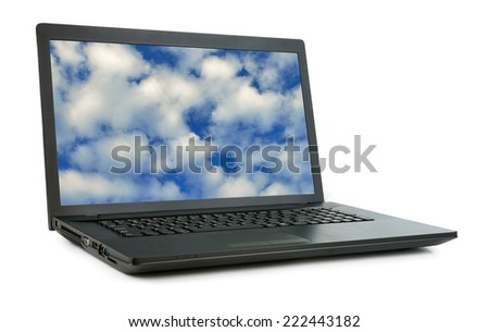 Laptop with picture of sky. Isolated on white background