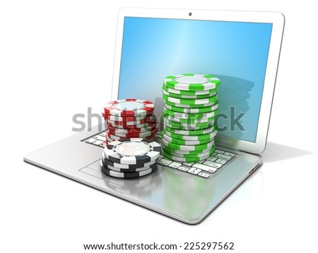 Laptop with red, green and black chips. 3D rendering - concept of online gambling. Isolated on white background  - stock photo