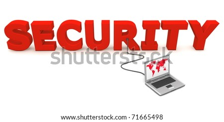 laptop with red worldmap connected to the red 3D word SECURITY - stock photo