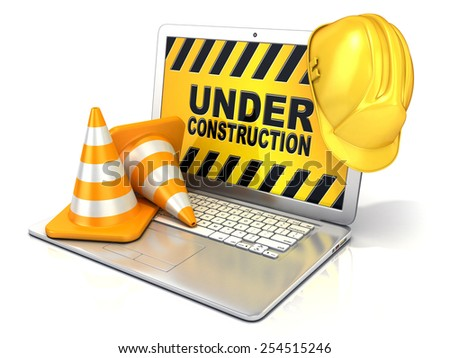 Laptop with safety helmet and traffic cones. 3D rendering - concept of computer under construction. Isolated on white background - stock photo