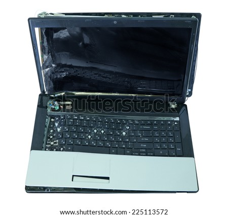Laptop with significant mechanical damage, isolated on white background