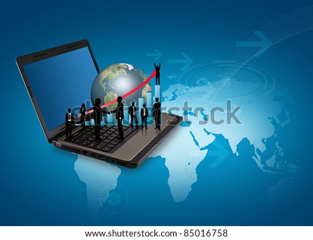 Laptop with silhouette people and earth