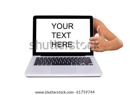 laptop with thumbs up, isolated on white