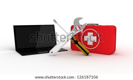 Laptop with tools and a first aid kit on a white background, 3D images