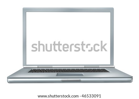 Laptop with white blank screen isolated on white