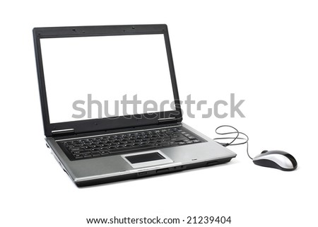 Laptop with white screen. Isolated on white background. Clipping path for screen included. - stock photo