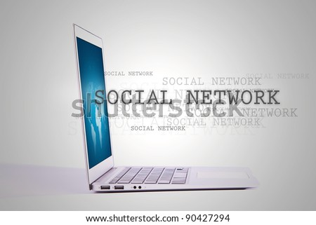 "Laptop with word "" Social Network "" out from screen - stock photo"
