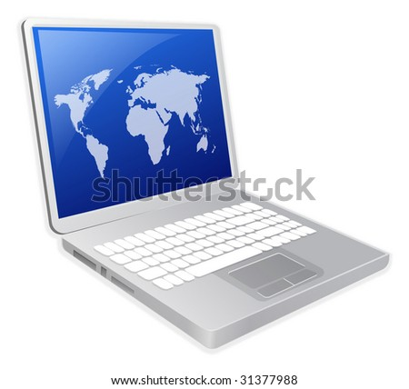 Laptop with world map illustration