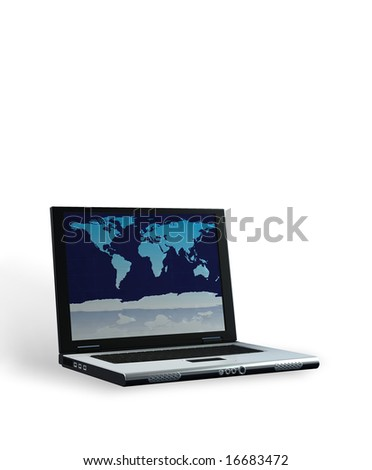 Laptop with world map on screen against white background , clipping path included for laptop and display