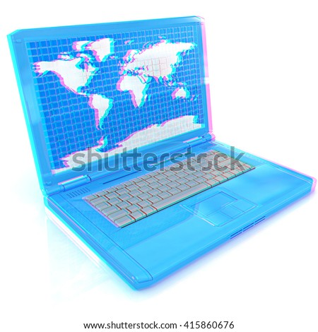 Laptop with world map on screen on a white background. 3D illustration. Anaglyph. View with red/cyan glasses to see in 3D. - stock photo
