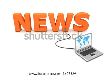 laptop with worldmap connected to the orange 3D word NEWS - stock photo