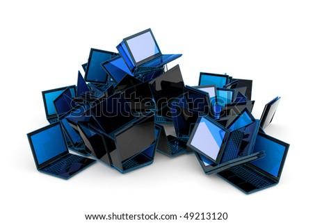 Laptops heap. Hi-res digitally generated image. - stock photo