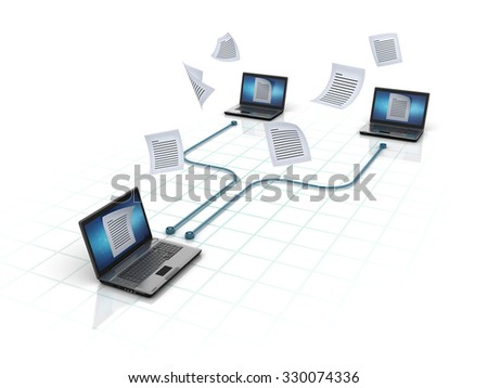 Laptops Sharing Documents. Network Concept - High Quality 3D Render