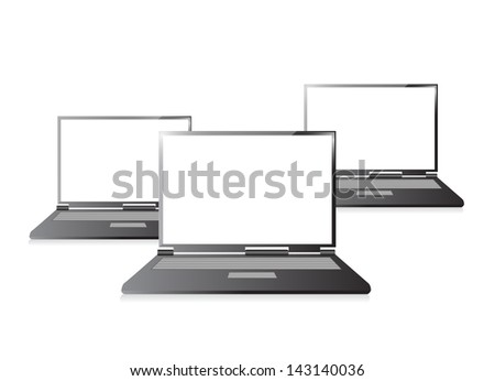 Laptops with blank screen isolated on white