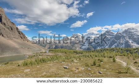Larch Valley, Temple Mount, Wenkchemna Glacier, Sentinel Pass, Banff National Park, Alberta, Canada - stock photo