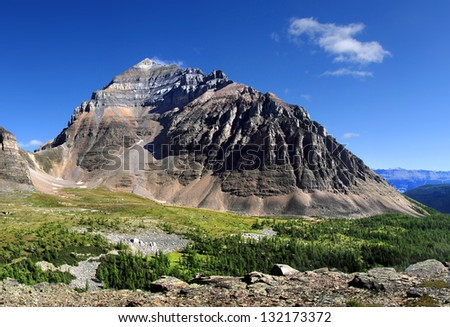 Larch Valley, Temple Mountain and Sentinel Pass Lake (left) Louise, Banff National Park, Alberta, Canada - stock photo