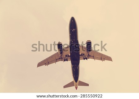 large aircraft in the sky - stock photo