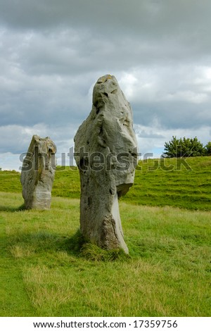 Large ancient stones on the meadow