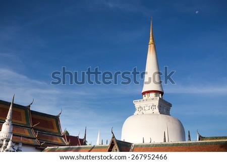Large ancient stupa, Historic southern Thailand: Wat Phra Mahathat Woramahawihan. Nakhon Si Thammarat.  - stock photo