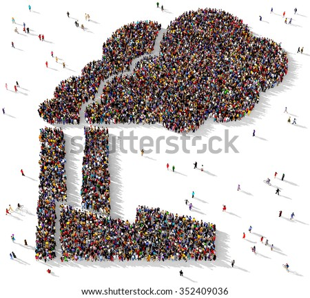Large and diverse group of people gathered together in the shape of an air polluting factory - stock photo