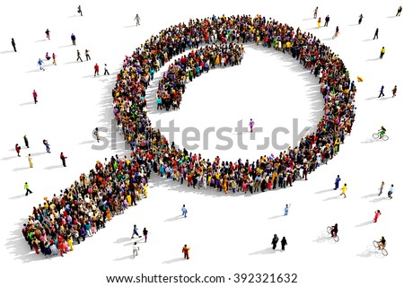 Large and diverse group of people seen from above gathered together in the shape of a magnifying glass icon  - stock photo