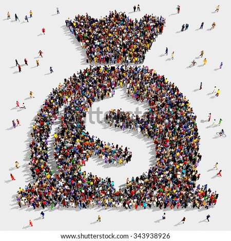 Large and diverse group of people seen from above gathered together in the shape of a money bag symbol - stock photo