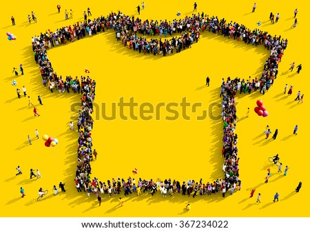 Large and diverse group of people seen from above gathered together in the shape of a t-shirt standing on a yellow background - stock photo