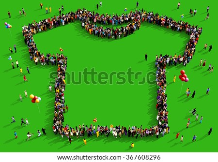 Large and diverse group of people seen from above gathered together in the shape of a t-shirt standing on a green background - stock photo