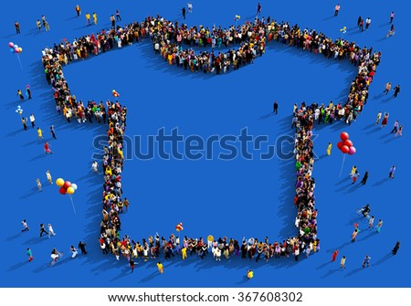 Large and diverse group of people seen from above gathered together in the shape of a t-shirt standing on a blue background - stock photo