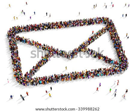 Large and diverse group of people seen from above gathered together in the shape of an envelope - stock photo