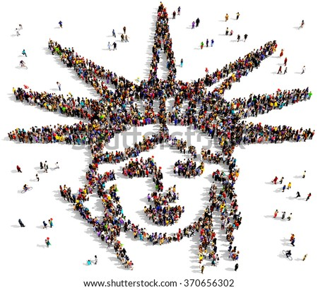 Large and diverse group of people seen from above gathered together in the shape of the statue of liberty - stock photo