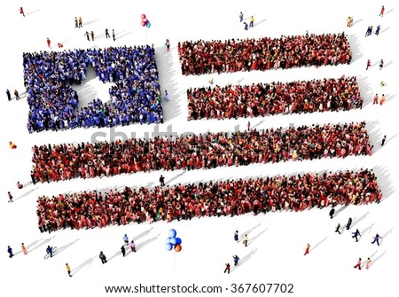 Large and diverse group of people seen from above gathered together in the shape of the united states of america flag - stock photo