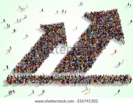 Large and diverse group of people seen from above gathered together is the shape of two arrows pointing up - stock photo
