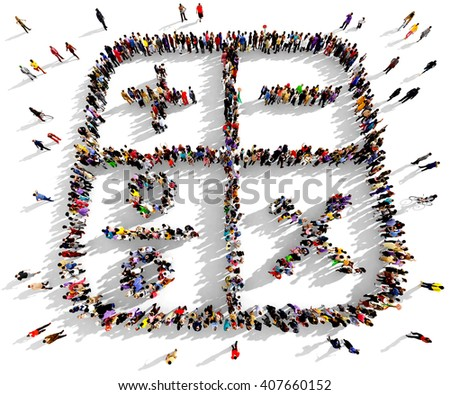 Large and diverse group of people seen from an aerial perspective gathered together in the shape of a calculator, 3d illustration - stock photo