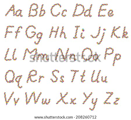 Large and small letters of the alphabet, from rope - stock photo