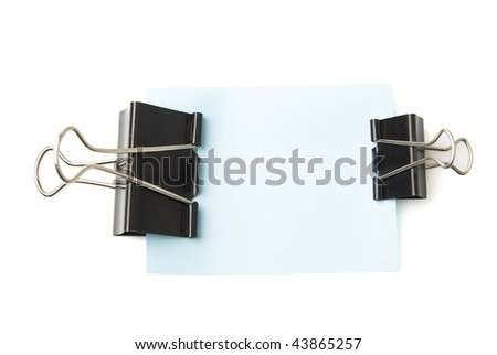 large and small size clips holds sheet over white background - stock photo