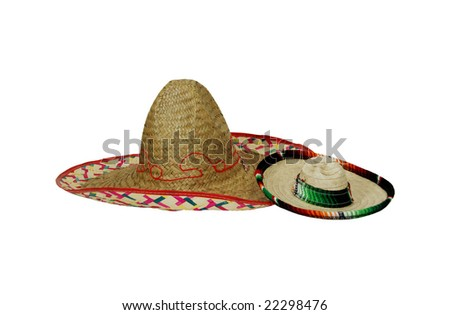 Large and small Sombreros of many bright colors commemorating mexican