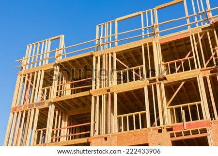 Large apartment is found under construction in the city. - stock photo