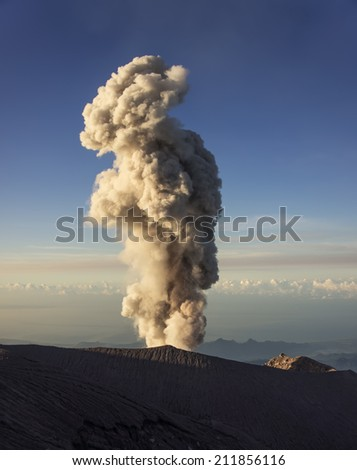 Large ash cloud rising from Semeru crater (Kawah Semeru) at Semeru Volcano Mountain, East Java, Indonesia. Semeru Mountain also known as Mahameru Mountain in Indonesia means the great mountain.