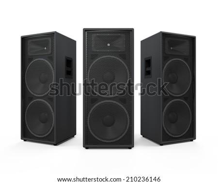 Large Audio Speakers - stock photo