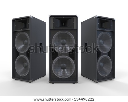 Large Audio Speakers Isolated on White Background - stock photo