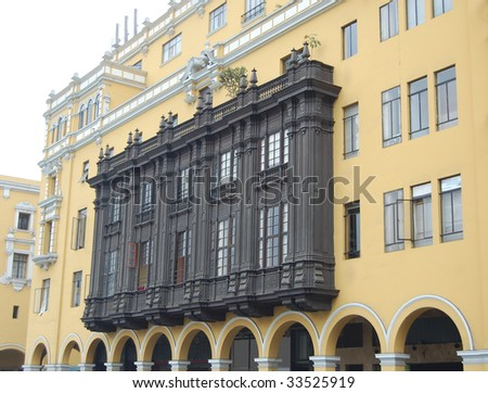 Large balcony in Plaza de Armas, Lima, Peru, from the side - stock photo