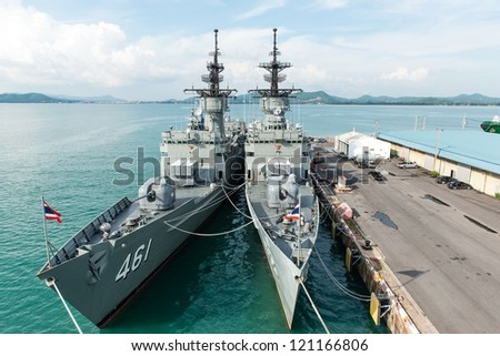 Large battle ship in Naval base, taken on a sunny day - stock photo