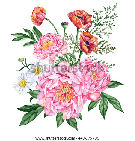 Large Beautiful Bouquet Of Pink Peonies Red Poppies And Daisies Isolated On White Background