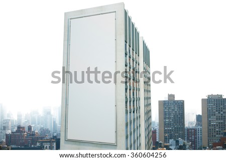 Large billboard on the wall of a building in the background of the city, mock up - stock photo