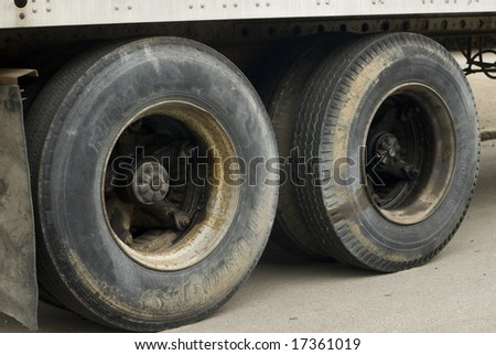 Large black semi-truck tires