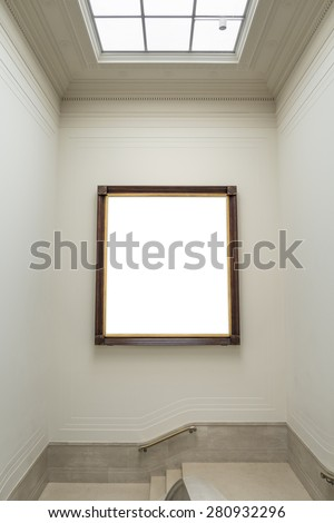 Large blank artwork in stairwell - portrait interior - stock photo