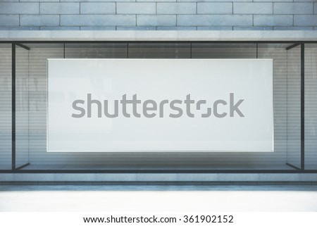 Large blank banner in a shop window, mock up 3D Render - stock photo