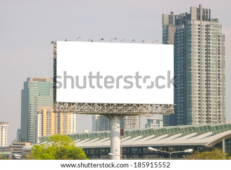 large blank billboard with city view background. - stock photo